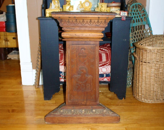 Knights of Pythias Carved Plinth Pedestal Antique 1800s Lodge Decor
