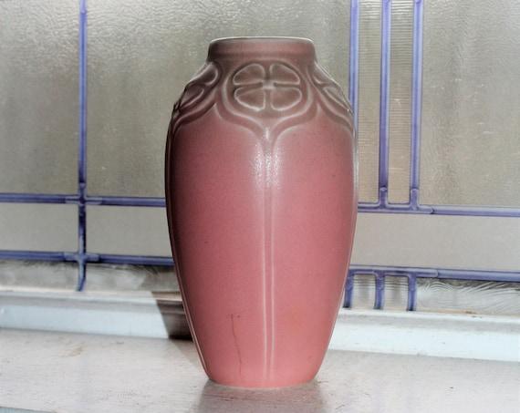 Vintage 1929 Rookwood Pottery Pink Vase 2403 Floral Shoulder Design