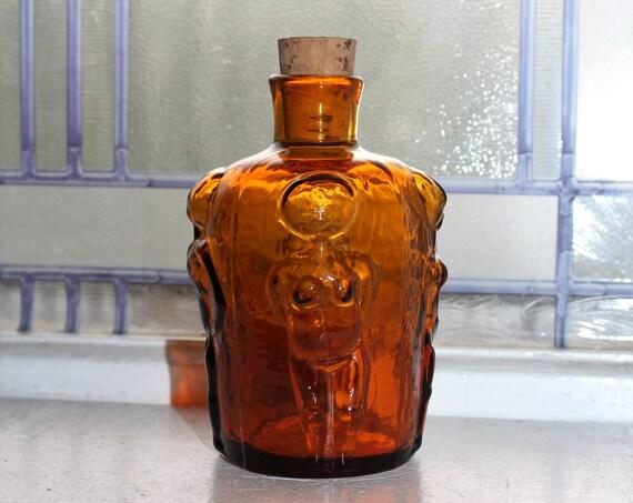 Erik Hoglund Boda Adam & Eve Bottle Amber Glass People Series 1960s