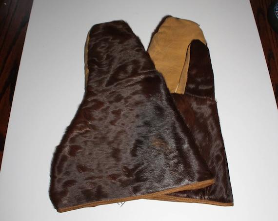 Vintage Western Horsehide Mittens Gloves