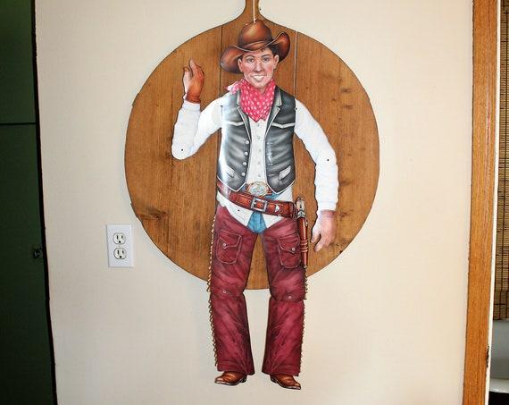 Large Vintage Die Cut Cardboard Cowboy Jointed Limbs 1960s