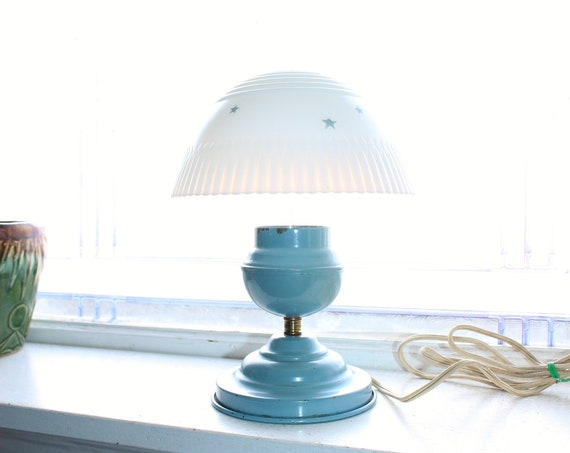 Vintage Art Deco Accent Lamp Blue with Petalware Shade and Stars