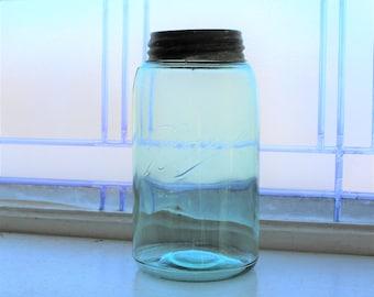 Antique Blue Ball Jar Mason Jar Quart 1896 to 1910 Three L Triple L