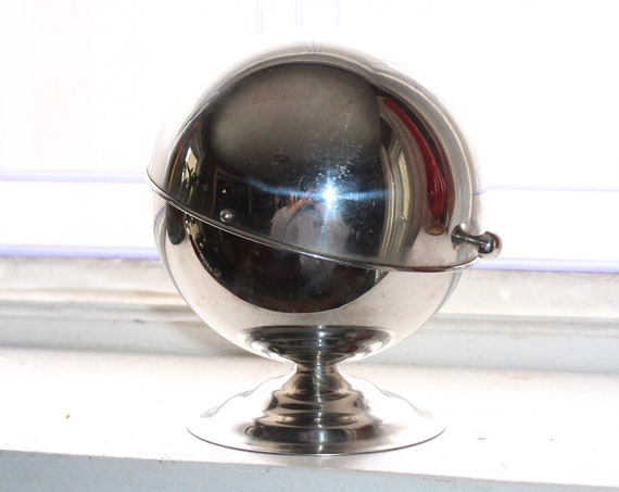 Art Deco Chrome Orb Dish Pedestal Bowl with Sliding Lid