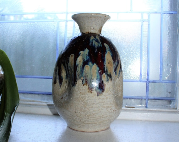 Mid Century Toyo Pottery Vase Ikebana Nageire Style Vintage 50s Japan