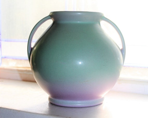 Vintage Rumrill Pottery Vase Green and Lavender with Handles #302