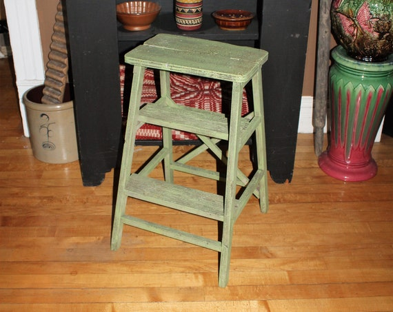 Vintage Wooden Step Stool Ladder Combination Country Green