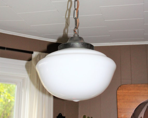 "Vintage Schoolhouse Pendant Hanging Light Fixture 1930s 14"" Wide Globe"