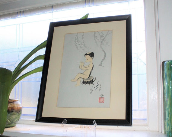 Mid Century Japanese Watercolor Painting Pair Artist Signed Yuuya & Tenkoku Seal