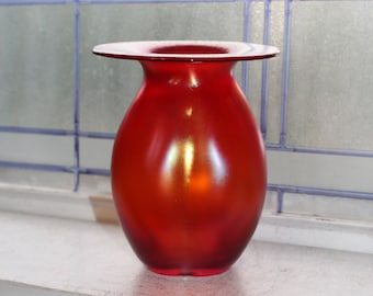 Studio Art Glass Melon Ribbed Vase Red Iridescent with Wide Flared Rim