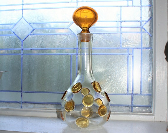 Vintage Mid Century Glass Decanter with Clear Applied Amber Blobs