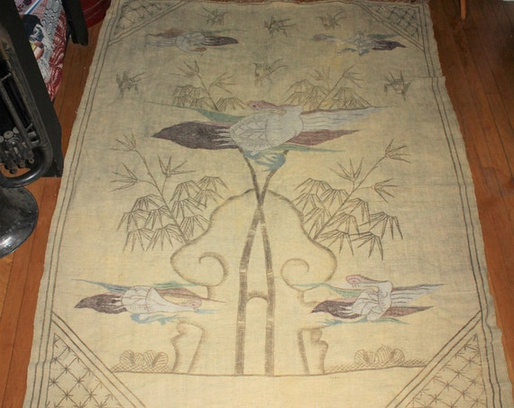 Large Antique Asian Birds Wool Area Rug 76 x 56 Inches