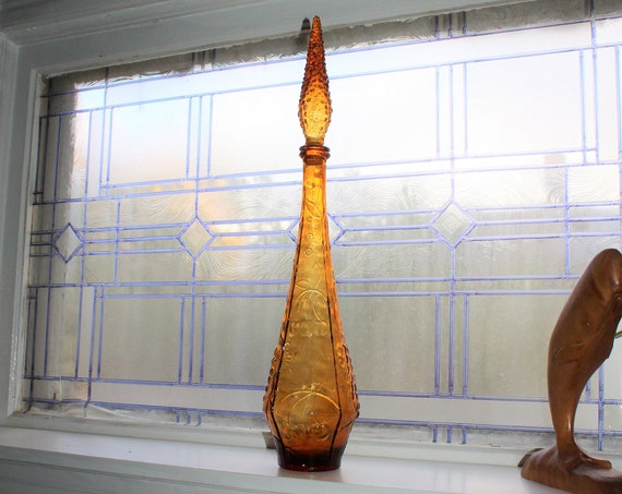 "Large Vintage Mid Century Orange Glass Bottle Decanter 22.5"""