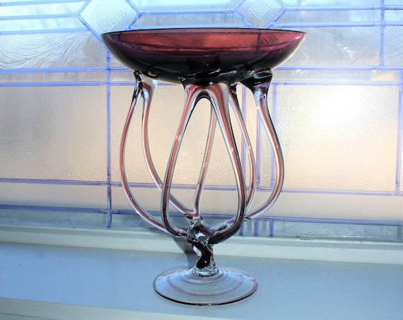 Large Vintage Jelly Fish Art Glass Compote Jozefina Krosno Poland