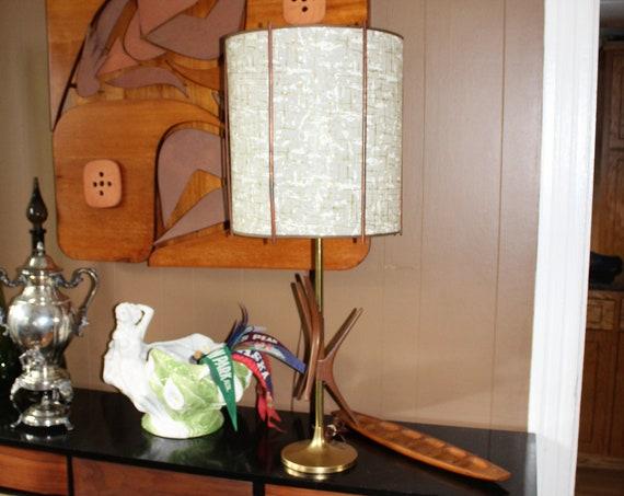"""Vintage Mid Century Table Lamp Teak Wood and Brass 39"""""""