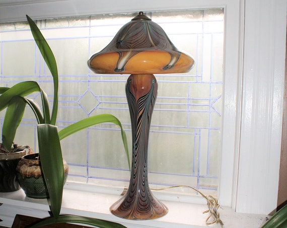 Vintage Art Glass Lamp Pulled Feather Swallowtail Studios California
