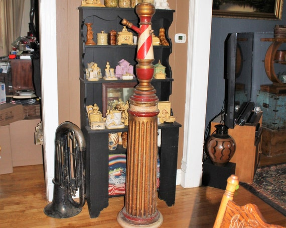 Late 1800s Wood Barber Pole Coat Rack 19th Cent Antique Barbershop