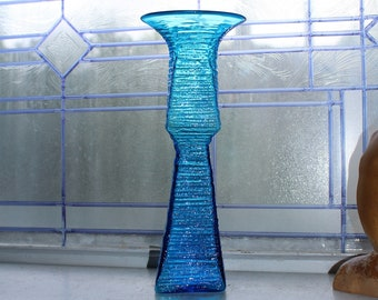 Vintage Mid Century Blenko Glass Textured Blue Vase Wayne Husted 1960s