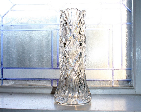 Vintage Elegant Cut Crystal Vase 10 Inch