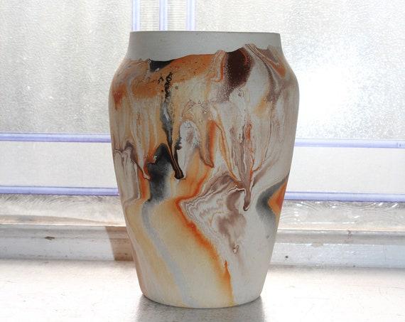 Vintage Nemadji Pottery Vase 6 Inch Orange and Brown Swirl Pottery