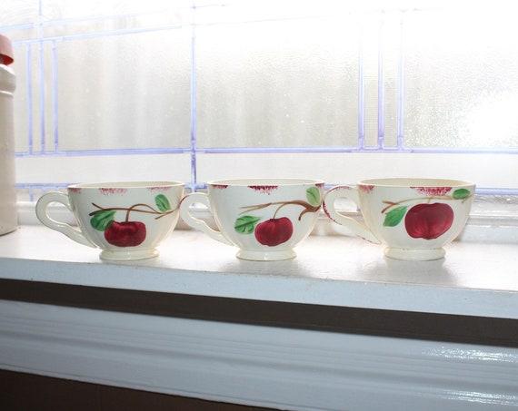 3 Blue Ridge Pottery Coffee Cups Autumn Apple Vintage 1940s