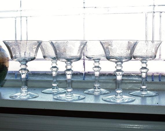 6 Tiffin Fuschia Champagne Glasses Tall Sherbets Vintage 50s Stemware