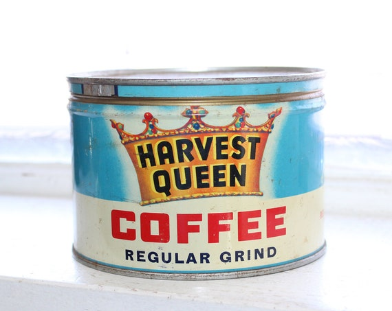 Vintage Coffee Tin Harvest Queen Coffee Can 1 Pound Red Owl Stores
