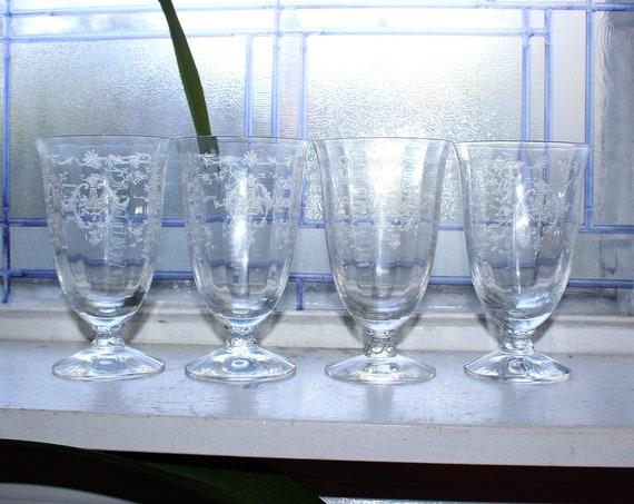 """4 Fostoria Navarre Iced Tea Glasses Vintage 5 3/8"""" Stemware"""