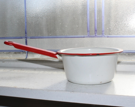 Vintage Enamelware Pan Red and White Rustic Farmhouse Decor