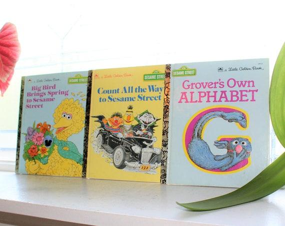 3 Little Golden Books Sesame Street Vintage Childrens Book