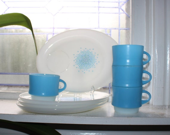 4 Place Setting Snack Set Mid Century Fire King Blue & White Mosaic