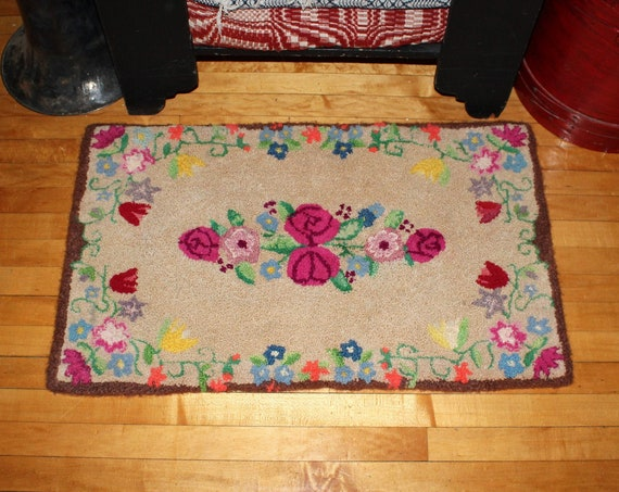 Vintage Hooked Rug Black with Flowers Country Decor