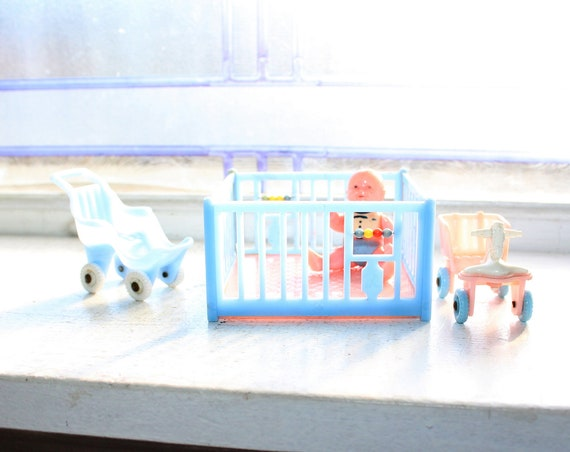Dollhouse Furniture Play Pen Strollers and Baby Vintage 1950s