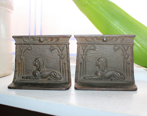 Antique Art Deco Bookends Egyptian Revival Sphinx 1920s