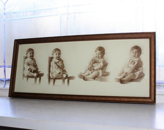 Vintage Framed Photographs Adorable Baby Boy 1920s Series of 4 Photos