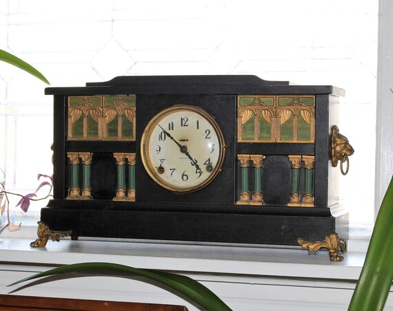 Antique Ingraham Mantel Clock with Lion Heads Victorian Decor