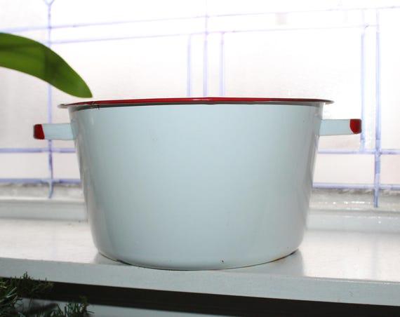 Vintage Enamelware Pail Pot White with Red Trim Farmhouse Decor