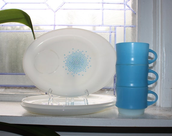 3 Place Setting Snack Set Mid Century Fire King Blue & White Mosaic