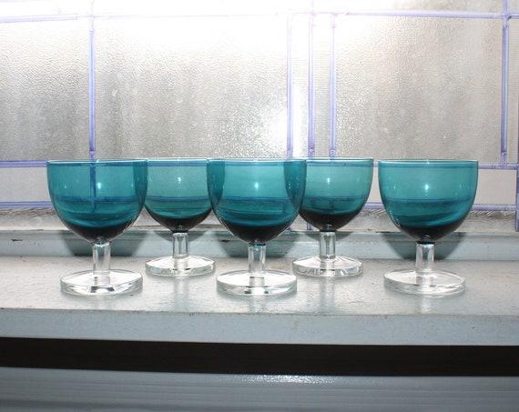 5 Mid Century Small Wine Glasses Teal Blue