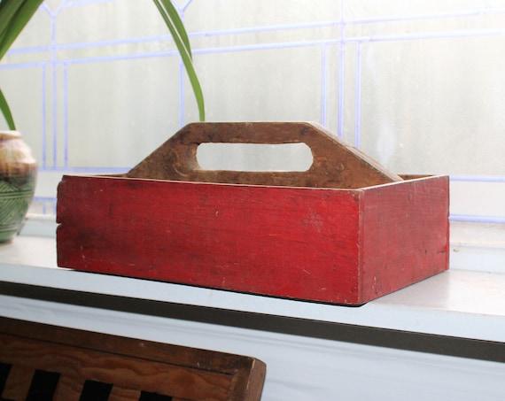 Vintage Wooden Garden Tote Cutlery Box Red Farmhouse Decor