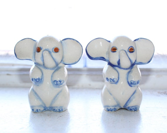 Vintage Occupied Japan Salt and Pepper Shakers Zombie Elephants