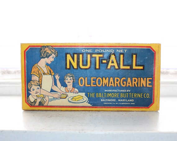 Vintage 1920s Nut-All Oleo Margarine Box Country Store Display