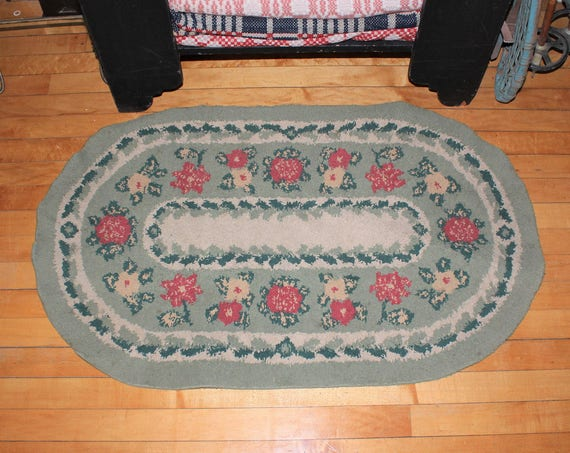 Vintage Rug Farmhouse Decor Flowers Green and Red