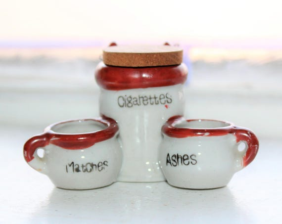 MIniature Chamber Pot and Commode Ashtray Cigarettes Matches Set