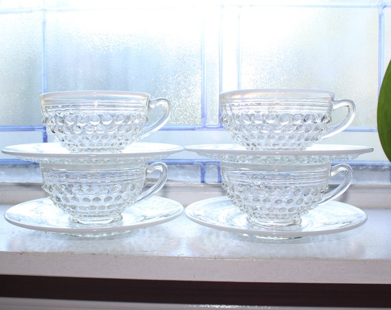 4 Moonstone Glass Cup and Saucer Sets Opalescent Hobnail Vintage 1940s