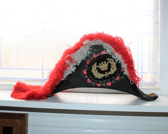 Antique Masonic Odd Fellows Admiral Hat with Ostrich Feathers