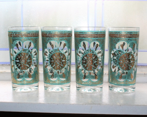4 Mid Century Hazel Atlas Burst Glass Tumblers Turquoise and Gold
