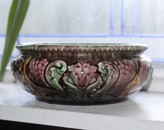 Antique Victorian Pottery Planter Bowl