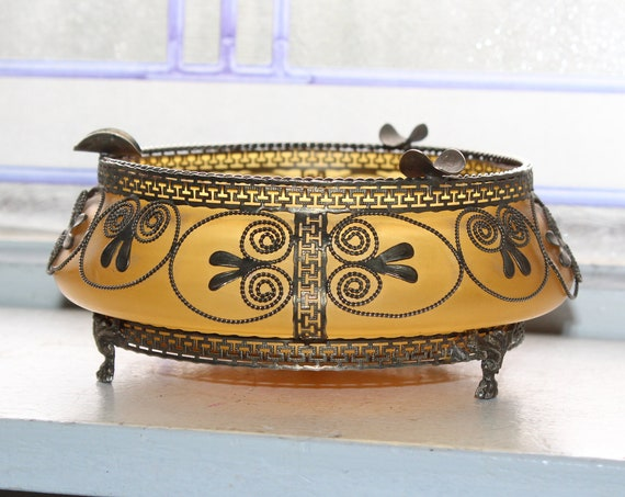 Antique Art Glass Ashtray with Silver Filigree