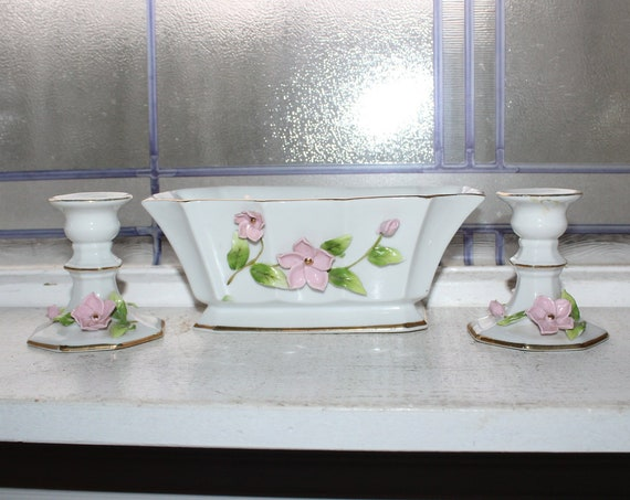 Lefton China Console Set Candle Holders & Bowl Pink Flowers Gold Trim